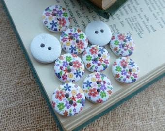 10x Wooden Button 15mm Button, Sewing, Dress Making Buttons Scrapbooking BT08