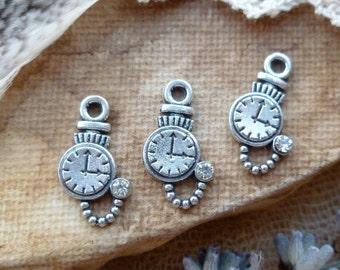 10x Little Pocket Watch, Alice In Wonderland White Rabbit Silver Charms C311