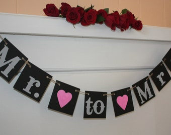Mr Mrs Wedding Banner - Wedding Sign- Photo Prop