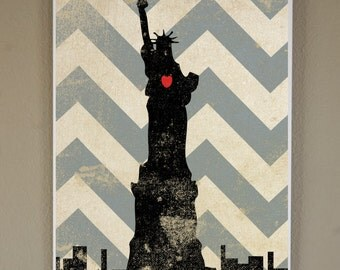Statue of Liberty Silhouette on Chevron Background: 11X17 Art Print, With Heart Studios - NYC, Nursery, Gift, Poster, Vintage