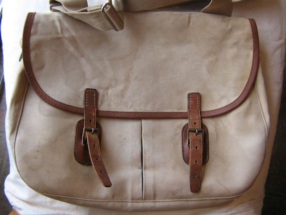 Vintage Abercrombie and Fitch English made shoulder book bag tan cotton tan leather
