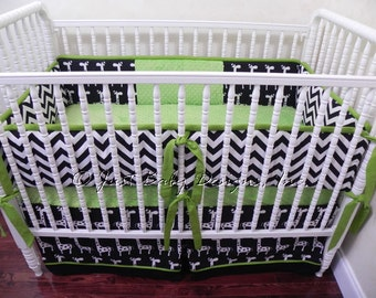 Custom Crib Bedding Set Parker - Boy Baby Bedding, Lime Crib Bedding, Giraffe Bedding