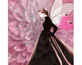 Vintage pink butterfly goddess, digital print, vintage fashion, (2) color ways, photomontage, vintage ball gown, fine art print, home decor