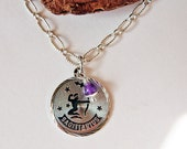 Sterling Silver Birthstone Necklace with Amethyst Charm and Sagittarius Zodiac Charm, Simple Modern Everyday Necklace