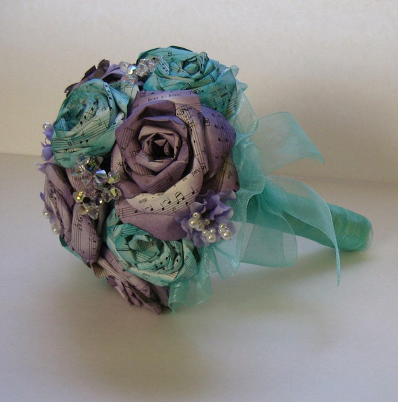 Sheet Music Rose Bridal Bouquet Tiffany Blue and Dusty Concord