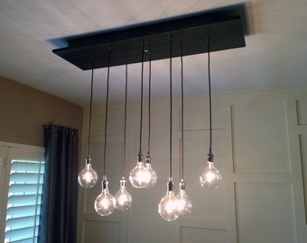 Custom Industrial Chandelier with Modern Glass Pendants