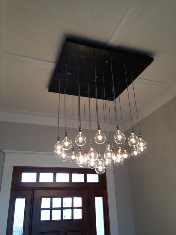 Large Custom Industrial Chandelier with Modern Glass Pendants – Modern Industrial Chandelier