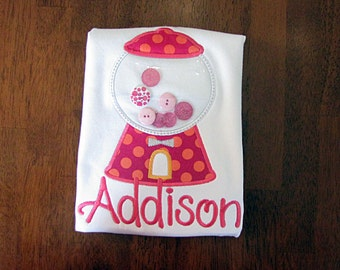 Bubblegum Machine Applique Shirt-Bubblegum shirt-Gumball Applique-girl-boy