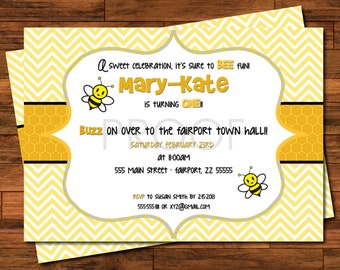 Bumble Bee Invitations - 5x7 or 4x6 - Chevron, Bee, Buzz, Honeycomb - Customized