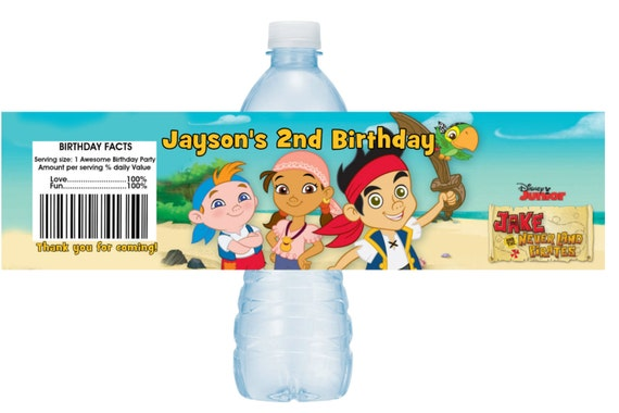 Jake and the Neverland Pirates Water Bottle Label Wrapper Printable