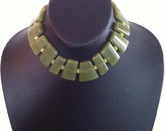 Necklace -Fancy Cut Olive Jade
