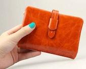 Orange leather wallet, wallet for women, Orange purse, zipper pocket, slots for credit cards, gift for her