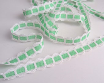 Fresh Green and White Lace Trim - 14mm wide - 2 YARDS