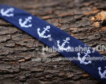 10 yards M75 woven jacquard ribbon - Navy Anchor