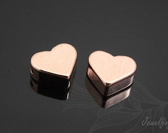 S415-8.5mm-40pcs-Pink Gold Plated-Heart