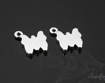 C740-20pcs-Rhodium Plated-butterfly