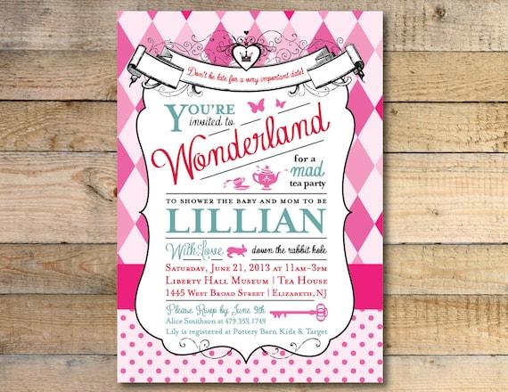 in wonderland baby shower invitation, Baby shower invitations