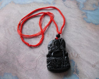 Dark Jade Carved the Land Lord Buddhist Pendant Amulet