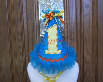 Girls  Birthday Party Hat - Turquoise & Yellow And Orange Birthday Hat -1st Birthday Party Hat  - Free Personalization