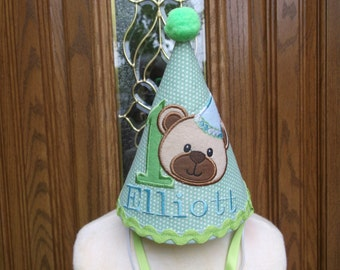 Boys First Birthday Party Hat -  Teddy Bear Theme Birthday Hat - Free Personalization