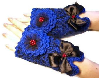 Indigo Blue Fingerless Handmade Knit Fingerless Gloves With Crochet Flowers Fingerless Mittens  Latvia team