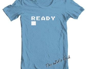 8 bit Atari computer 'Ready prompt tee shirt hand screened