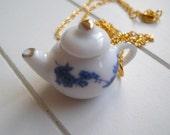 Blue Floral Teapot Tea 3D Charm Necklace Alice in Wonderland, Tea Party, Flower