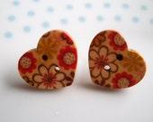 Pretty Floral Wooden Eco Heart Button Stud Earrings, Kitsch, Retro, Flower, Daisy