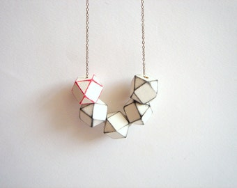 Geometric Necklace , White Wood Geometric Necklace,Geometric Jewelry