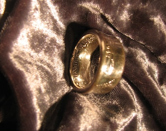 COIN RING made from a 1942 Walking Liberty Half Dollar, A NEW unsized Mens / Mans ring 74 year old American 90% silver coin