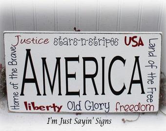 America Subway Art Wood Sign