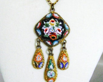 Vintage Micro Mosaic  Pendant with Dangles and Chain Art Deco