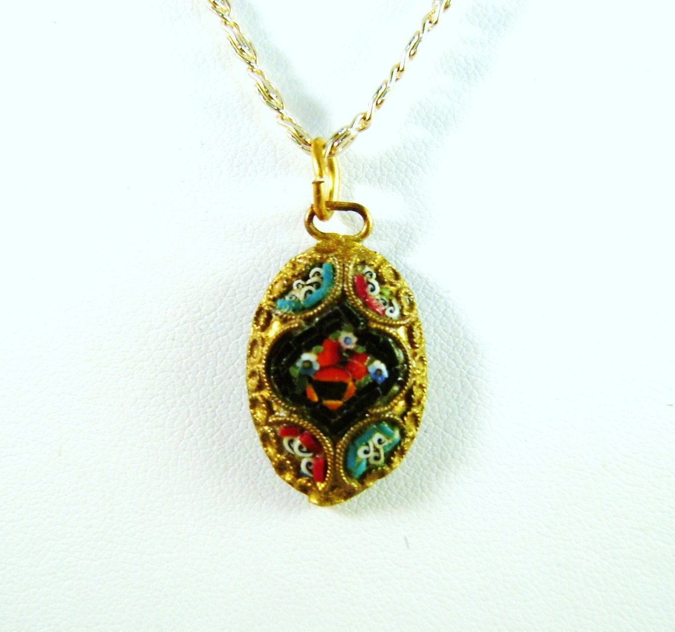 vintage micro mosaic pendant and chain