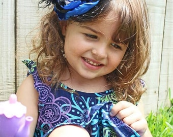 Royal Blue and Black Vintage Inspired Headband, Photo Prop, Fasinator, Couture, Girl, Newborn, Infant, Toddler