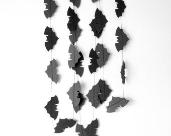 Black Bat Garland - Black Halloween garland, Halloween decorations, Halloween Bunting