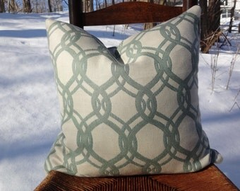 18x18 Woven Ivory and Robins Egg Blue Pillow Cover