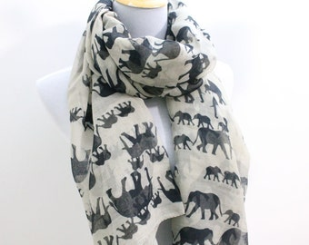 Light Khaki Elephant Scarf Light Brown Scarf with Black Elephant Scarf