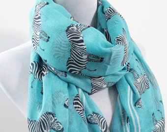 Aqua Blue Zebra Scarf Light Brown Scarf with White Zebra Scarf