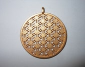 Flower of Life Pendant 3D Print in Gold Plated Steel