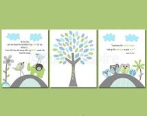 Aqua grey and green Nursery Art Print Set, Kids Room Decor, Children Wall Art -elephant, owl family, brothers, love bird