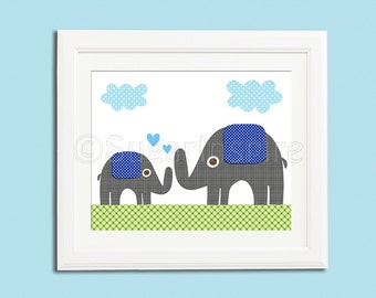 grey and blue elephant nursery Art Print, 8x10, baby boy room, Kids Room Decor, Children Wall Art , green