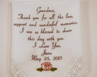 Grandmother of the Bride Gift for Grandma of the Bride Embroidered Handkerchief Wedding Hankerchief from Groom Personalized Napa Embroidery