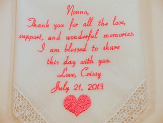 Grandmother Wedding Gift: Grandma Of The Bride Gift Wedding Embroidered Hankerchief