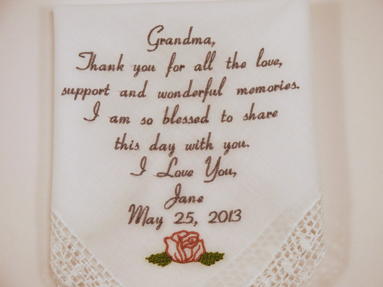 Wedding Gift Ideas Embroidered : Gift for Grandma Embroidered Wedding by NapaEmbroidery on Etsy