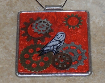 Owl and Gear Pendant