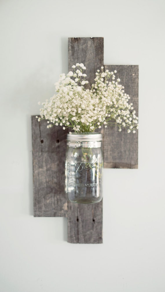 Reclaimed Barn Wood Mason Jar Wall Vase By Designsbymjl On