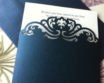 Custom Luxury Pocket Invitations, Custom Die Cut Wedding Invitations, Custom Lasercut Invitations