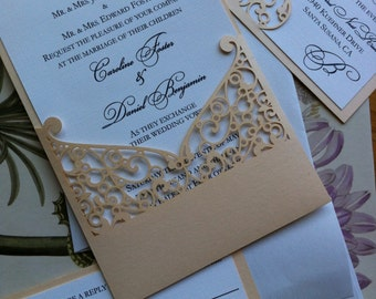 Lasercut Wedding Invitation Sleeve Pocket - Elegant Swirl Pattern - Die Cut Pocket
