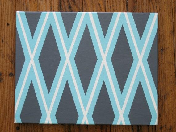 Azul claro, gris y blanco pintura geométrica