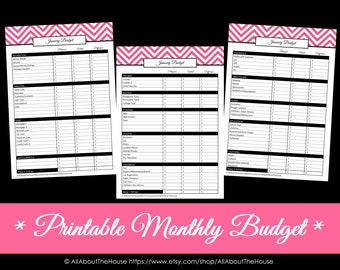 Printable Monthly Budget - Chevron Monthly Budget - Finance Printable - PDF Household Binder  EDITABLE money management family organisation